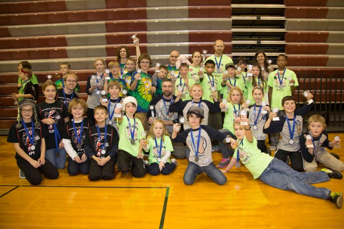 Several of the teams that are headed on to the State Championship from the Grandville Regional Lego League Tournament.